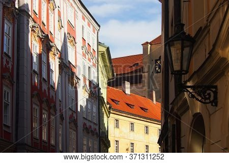 Narrow Streets Of Old Prague. Traditional Bohemian Building In The Streets Of Prague Or Praha, Czech