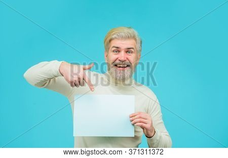 Insert Your Text. Sale. Discount. Advertising Banner. Man With Blank Board. Man Shows Empty Board. B