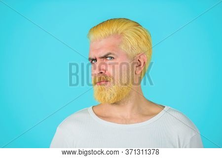 Barbershop. Blond Hipster Guy. Handsome Man With Stylish Haircut. Bearded Man With Dyed Blonde Hair.