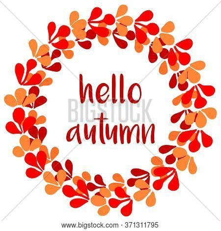 Autumn Wreath Vector Card Isolated On White Background