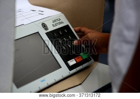 Salvador, Bahia/brazil - July 31, 2018:  Electronic Ballot Box Used By The Electoral Justice In The