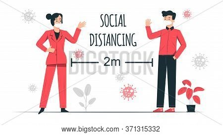 social distancing vector illustration, Social distancing, keep distance in public society people to protect from covid-19