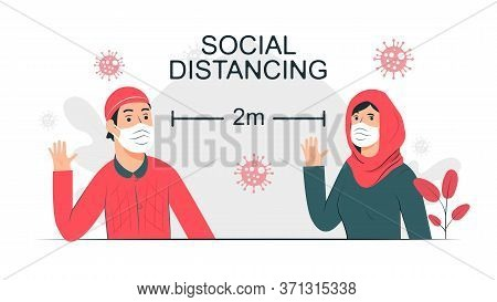 Social Distancing Concept Man And Woman Moslem People Keep Distance 2 Meters To Prevent From Covid-1