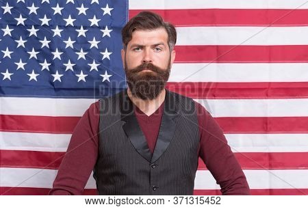 Believe In America. Patriotic Holiday Of Independence Day. Follow American Traditions. Devoted His M