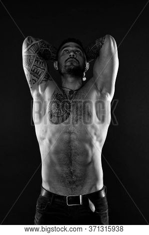 Narcissism. Self Care. I Am Perfect. Tattoo Man With Sexy Bare Torso. Bearded Macho With Tattooed Bo