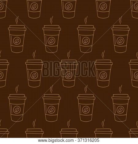 Paper Cup Of Coffee Hand-drawn. Vector Seamless Doodle Pattern On Brown Background. Design For Texti