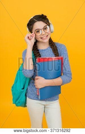 Teen With Backpack. Cute Smiling Schoolgirl. Girl Little Schoolgirl Carry Backpack. Pupil Going To S