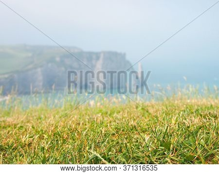 Picturesque Myst Panoramic Landscape On The Cliffs Of Etretat,  France. Green Grass, Fog In Summer M
