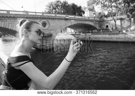 Best Camera For Tourists. Pretty Photographer Take Photo Of City River. Sexy Girl Shoot With Camera.