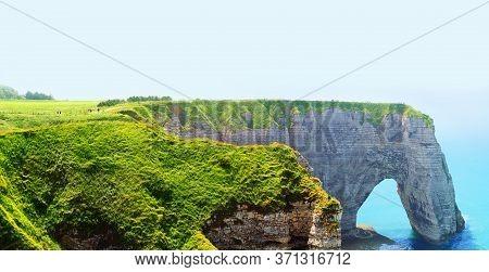 Picturesque Landscape On The Cliffs Of Etretat. Natural Amazing Cliffs. Etretat, Normandy, France. C
