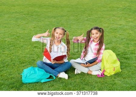 Having Rest After School Day. Spring Holiday Time. Best Friends Forever. Pass Exam With Success. Fun