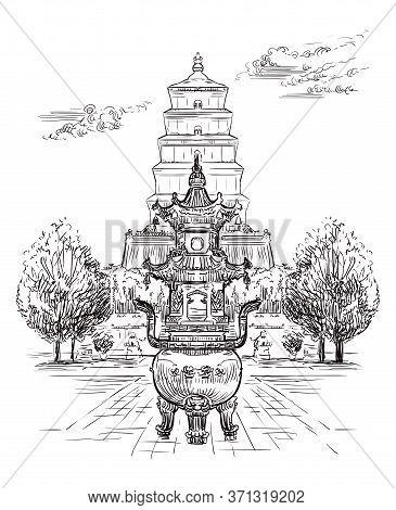 Big Wild Goose Pagoda, Buddhist Pagoda In Southern Xi'an, Shaanxi Province, Landmark Of China. Hand