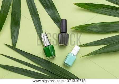 Green Nail Polishes On A Green Background And Green Palm Leaves. Monochrome Green. Minimal