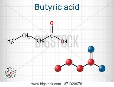 Butyric Acid, Butanoic Acid Molecule. Butyrates Or Butanoates Are Salts And Esters. Sheet Of Paper I