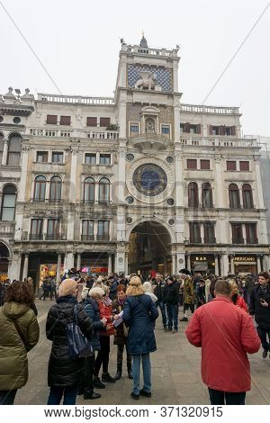 Venice, Italy - January 30, 2016: Piazza San Marco Or St Marks Square In Venice With Tourists Explor