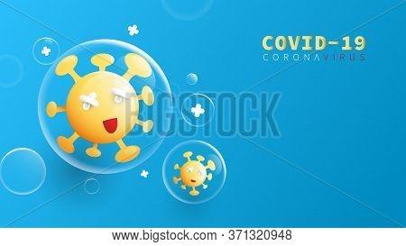 Composition Of Coronavirus. Covid-19 Coronavirus Concept. Coronavirus Protection Related. Cute Carto