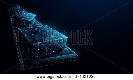 Packing The Courier In The Belt Production Line. Low Poly Wireframe. Vector Illustration