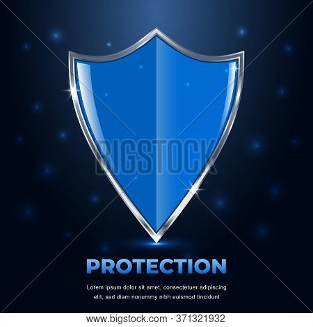 Shield Protection. Futuristic Glowing Security Shield On Dark Blue Background With Highlights. Guard
