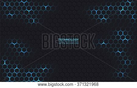 Dark Technology Hexagonal Vector Background. Abstract Blue Bright Energy Flashes Under Hexagon In Da