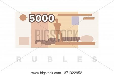 Ruble Money, Russian 5000 Rubles Paper Banknote. Vector Illustration