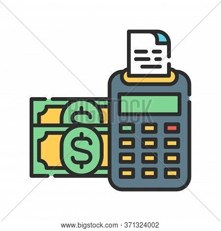 Report And Financial Statements Color Line Icon. Bookkeeping And Accounting. Pictogram For Web Page,