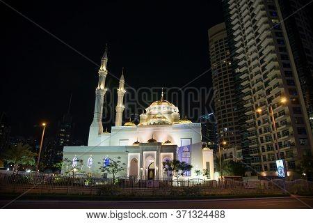 Dubai, Uae - November 12: Mohammad Bin Ahmed Al Mulla Mosque At Night, Dubai, United Arab Emirates,