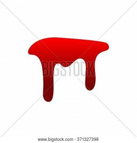 Blood Drip. Drop Blood Isloated White Background. Happy Halloween Decoration Design. Red Splatter St