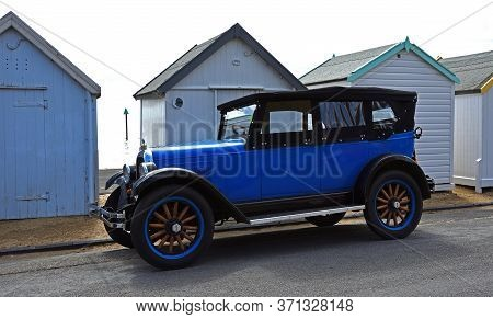 Felixstowe, Suffolk, England - May 05, 2019: Vintage Overland Willys Whippet Tourer  Car Parked On S
