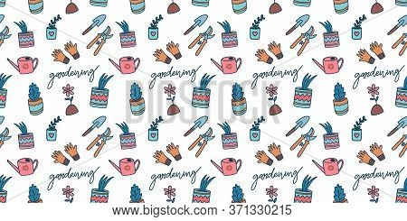 Urban Gardening Seamless Pattern. Doodle Cute Background With Horticultural Sundry. Vector Illustrat