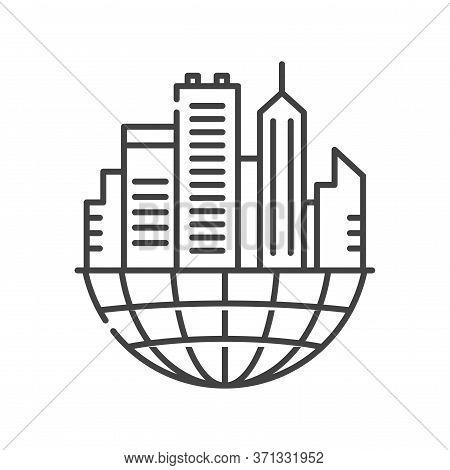 Urban Sprawl Black Line Icon. Urbanization. Expansion Of Megalopolises. Environmental Problems. Sign