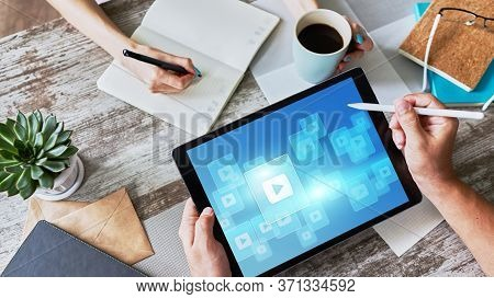 Play Video Button. Media Player Window On Screen. Streaming. Marketing Content Strategy.