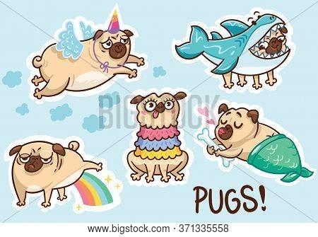 Funny Pug Dog Sticker Set. Vector Illustration