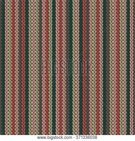 Cotton Vertical Stripes Knitted Texture Geometric Vector Seamless. Pullover Knit Effect Ornament. No