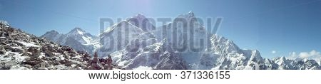 Amazing Panoramic View Of Mount Everest From Kalla Pattar Peak. The Highest Mountain In The World