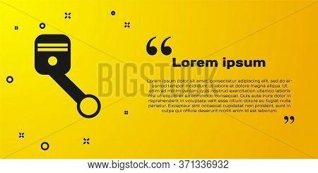 Black Engine Piston Icon Isolated On Yellow Background. Car Engine Piston Sign. Vector Illustration