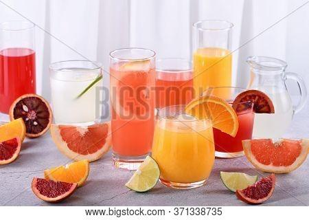 Refreshing Fresh Detox Citrus Juices From Orange, Sicilian Orange, Grapefruit, Lime