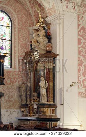 ZAGREB, CROATIA - MAY 16, 2013: Altar of St. Ignatius of Loyola in the Church of Saint Catherine of Alexandria in Zagreb, Croatia