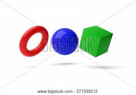 Red, Blue And Green Geometric Primitives, Sphere, Cube And Torus On White Background, Modern Minimal
