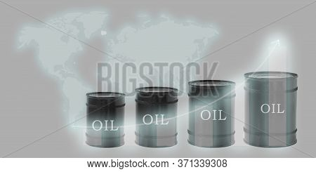 A Few Barrels Of Oil, Arranged In Ascending Order, And A Wealth Chart Against The Background Of A Wo