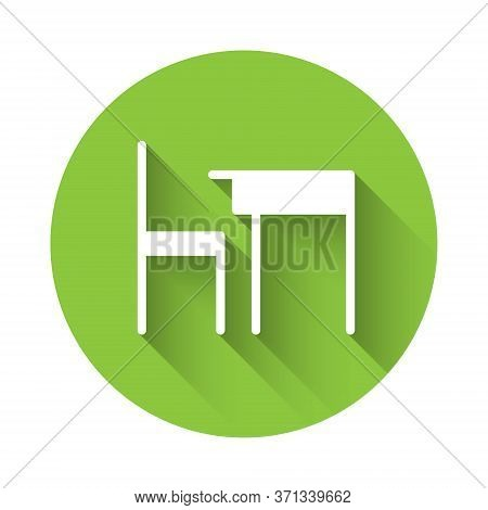 White School Table And Chair Of Classroom Icon Isolated With Long Shadow. School Desk. Green Circle