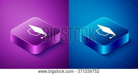 Isometric Graduation Cap Icon Isolated On Blue And Purple Background. Graduation Hat With Tassel Ico
