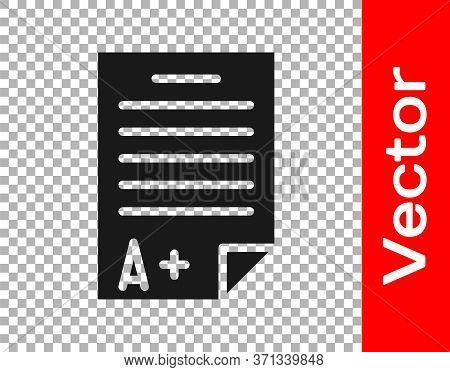 Black Exam Sheet With A Plus Grade Icon Isolated On Transparent Background. Test Paper, Exam, Or Sur