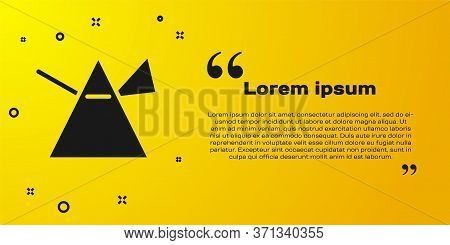 Black Light Rays In Prism Icon Isolated On Yellow Background. Ray Rainbow Spectrum Dispersion Optica