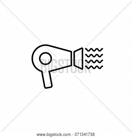 Hair Dryer Icon Line. Electronic Blow Dryer Sign. Vector On Isolated White Background. Eps 10.