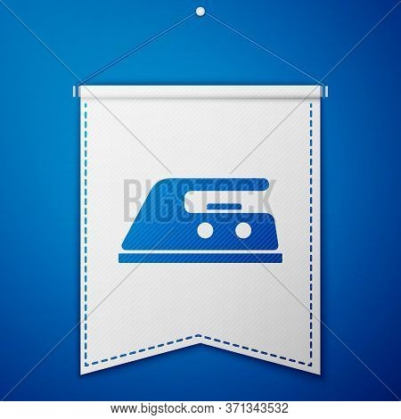 Blue Electric Iron Icon Isolated On Blue Background. Steam Iron. White Pennant Template. Vector Illu