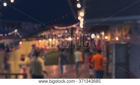 Vintage Tone Blurred Images Of Night Streets Party In City