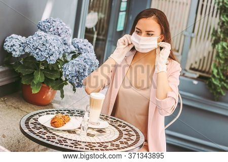 Portrait Happy Stylish Woman In Protective Gloves Drink Coffee, Wearing Medical Face Mask In French