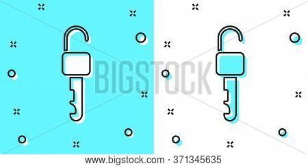 Black Line Unlocked Key Icon Isolated On Green And White Background. Random Dynamic Shapes. Vector I