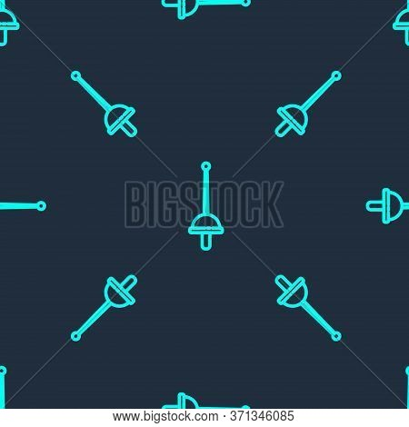 Green Line Fencing Icon Isolated Seamless Pattern On Blue Background. Sport Equipment. Vector Illust