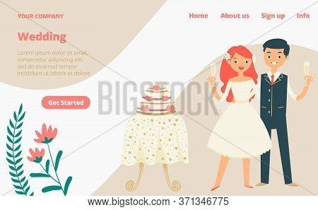 Wedding Celebration Landing Web Page, Concept Banner Website Template Cartoon Vector Illustration. W